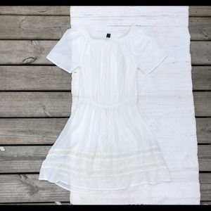 White Gap off shoulder semi sheer beach dress